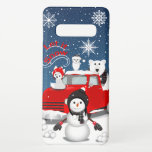 """Let It Snow Samsung Galaxy S10  Case<br><div class=""""desc"""">This design features the nostalgia of a vintage red truck with some Arctic animals and a snowman in a wintry scene.</div>"""