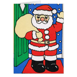 Let it snow!, Santa waves goodbye Card