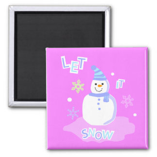 let it snow screen 2 inch square magnet