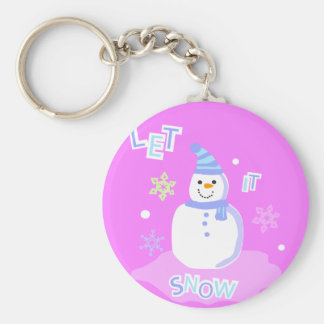 let it snow screen basic round button keychain