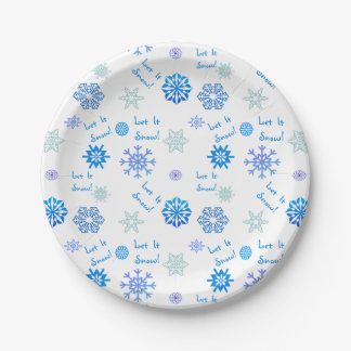 Let It Snow 7 Inch Paper Plate