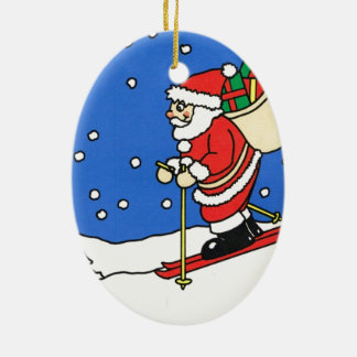 Let it snow! Skiing Santa Ceramic Ornament