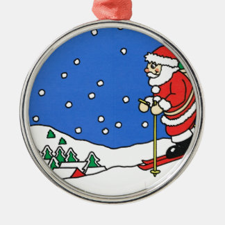 Let it snow! Skiing Santa Metal Ornament