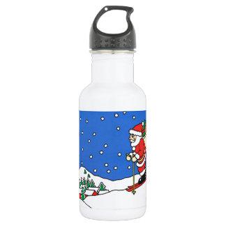 Let it snow! Skiing Santa Stainless Steel Water Bottle