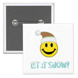 Let It Snow Smiley Face Pinback Button