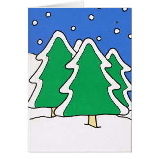 Let it snow!, Snow covered Christmas trees Card