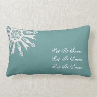 Let it Snow Snowflake on Cadet Blue Field - Lumbar Pillow