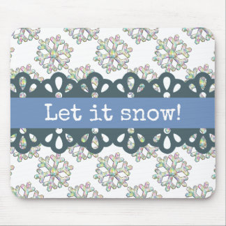 Let it Snow Snowflake Pattern Holiday Mouse Pad