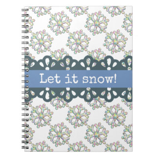 Let it Snow Snowflake Pattern Holiday Notebook