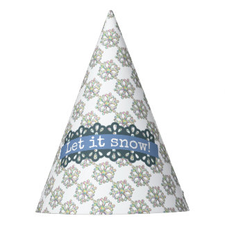 Let it Snow Snowflake Pattern Holiday Party Hat