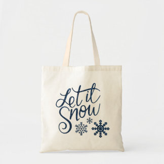 Let it Snow Snowflakes in Blue Faux Glitter Tote Bag