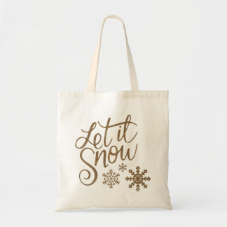 Let it Snow Snowflakes in Gold Faux Glitter Tote Bag