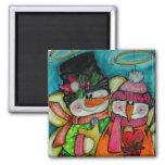 Let It Snow - Snowman Angels Magnet