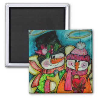 Let It Snow - Snowman Angels Magnet