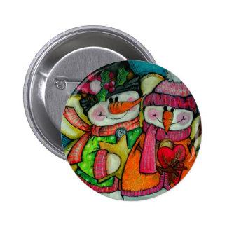 Let It Snow - Snowman Angels Pinback Button