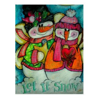 Let It Snow - Snowman Angels Postcard