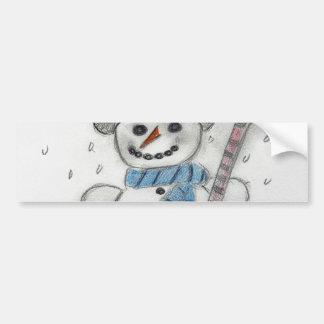 Let It Snow Snowman Car Bumper Sticker