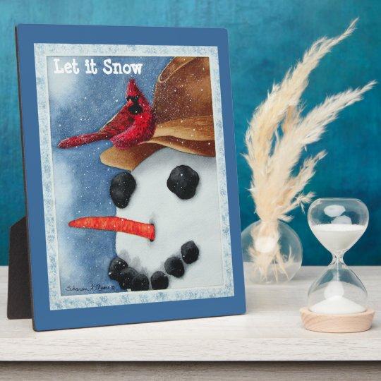 Let It Snow Snowman & Cardinal Plaque