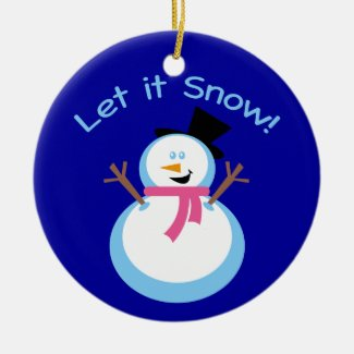 Let it Snow Snowman Ceramic Ornament