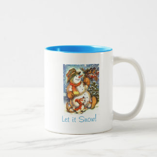 Let it Snow  Snowman Coffee Cup Two-Tone Coffee Mug