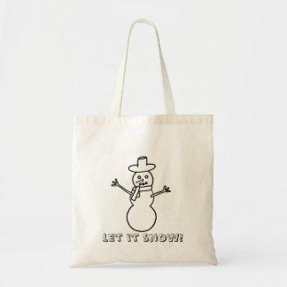 Let it snow, snowman, coloring canvas bags
