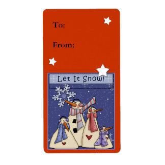 Let it snow - snowman design label