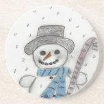 Let It Snow Snowman Drink Coaster