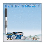 "Let It Snow Snowman Dry Erase Board 8"" x 8"""