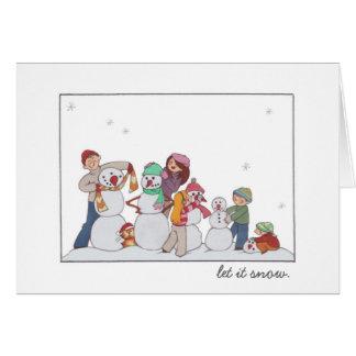 """Let it snow"" Snowman Family Card"
