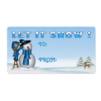Let It Snow Snowman Gift Tags