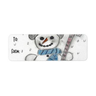 Let It Snow Snowman Label