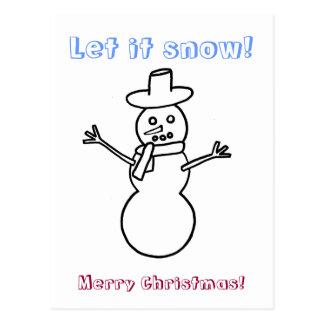Let it snow, snowman outline coloring postcards