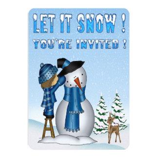 Let It Snow Snowman Party Invitations