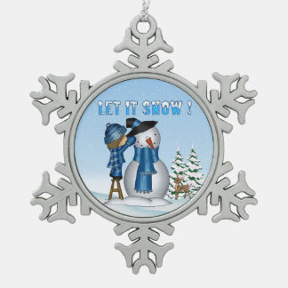 Let It Snow Snowman Pewter Snowflake Ornaments
