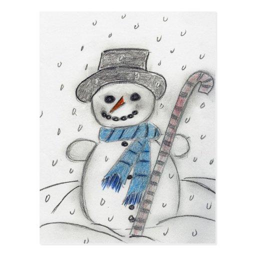 Let It Snow Snowman Post Cards
