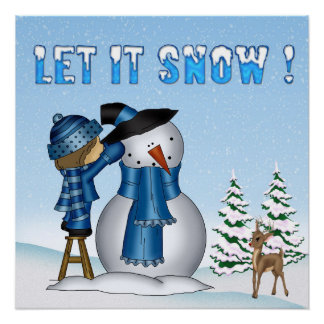 Let It Snow Snowman Poster