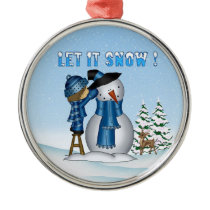 Let It Snow Snowman Premium Round Ornament