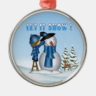 Let It Snow Snowman Premium Round Ornament