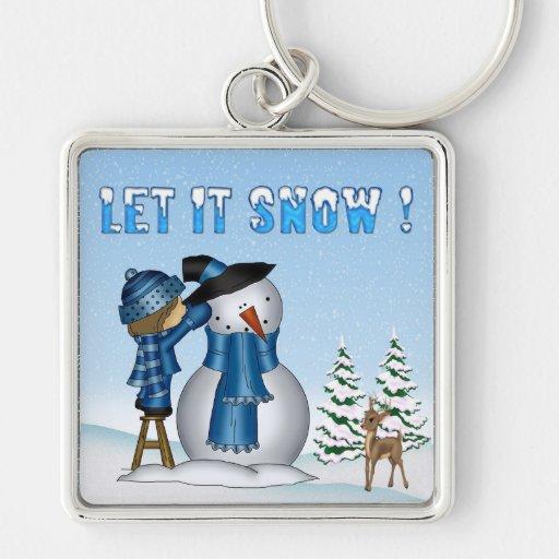 Let It Snow Snowman Premium Square Key Chain