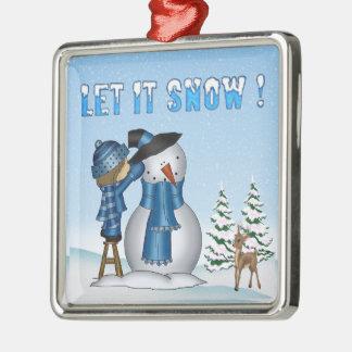 Let It Snow Snowman Premium Square Ornament