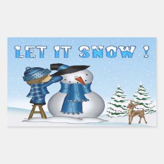 Let It Snow Snowman Rectangle Stickers