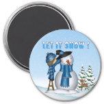 Let It Snow Snowman Round Magnet