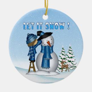 Let It Snow Snowman Round Ornament