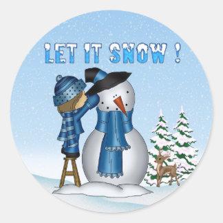 Let It Snow Snowman Round Stickers