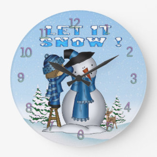 Let It Snow Snowman Round Wall Clock