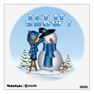Let It Snow Snowman Round Wall Decal