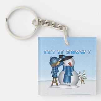 Let It Snow Snowman Square Acrylic Key Chain
