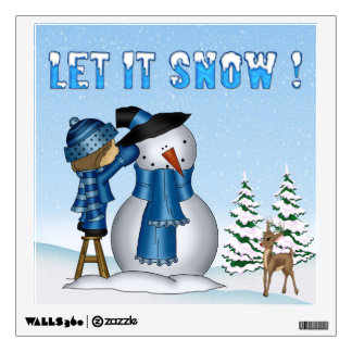 Let It Snow Snowman Square Wall Decal
