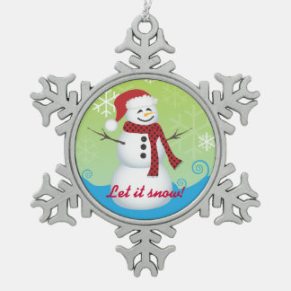 Let It Snow! Snowman Wearing Santa Hat Snowflake Pewter Christmas Ornament