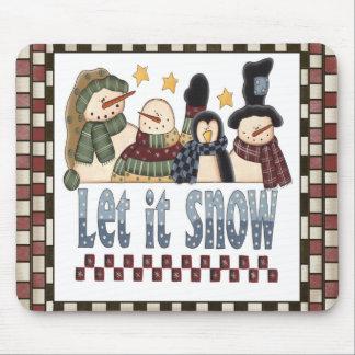 Let It Snow Snowmen Christmas Mousepad